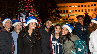 Student at the annual tree lighting x320