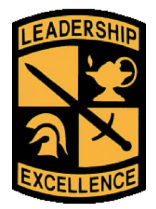 A yellow and black ROTC patch reading
