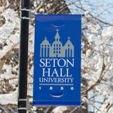 Seton Hall Banner covered in snow