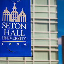 Seton Hall banner hanging from pole x222