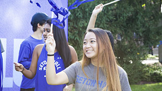 Students Celebrating at Seton Hall Weekend
