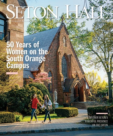 Seton Hall Magazine Cover which clicks through to the online issue of the magazine