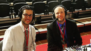 Best (right) conducting a Seton Hall Women's Basketball broadcast, November 2016 at Marist College, NY.