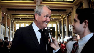 WSOU News Director Bob Towey (right) interviews New Jersey Governor Phil Murphy at the New Jersey Hall of Fame Induction Ceremony earlier this year.