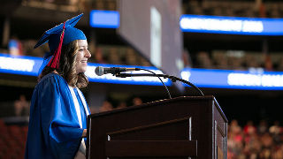 Janina Andrea Alzate, giving her valedictorian address at the 2018 Baccalaureate Commencement Ceremony.
