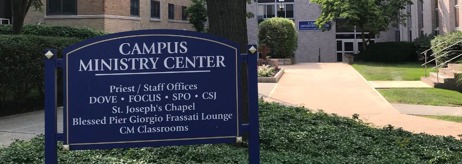 Sign for the Campus Ministry Center.