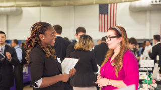 Student networking at the Career Fair.