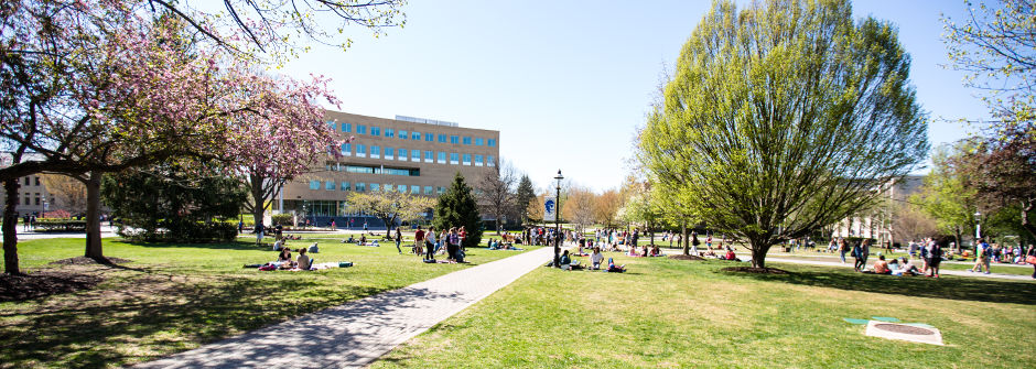Campus shot of the University Green.