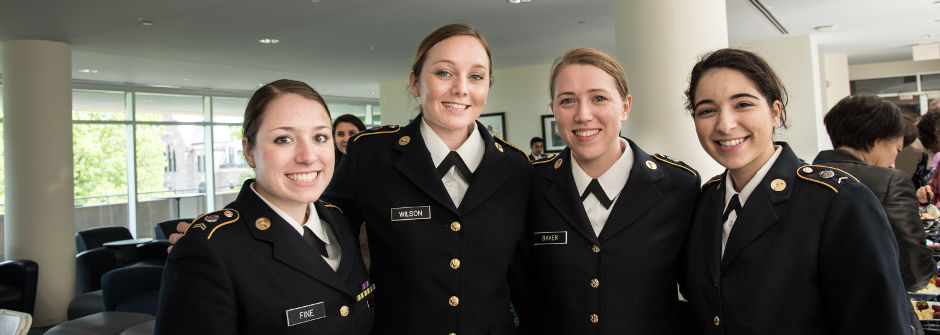 A group of female cadets at the ROTC Commissioning Ceremony.
