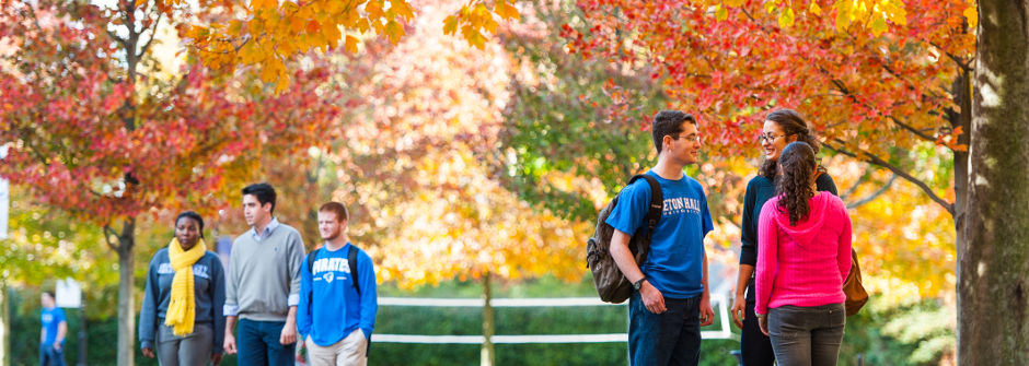 Students on campus in the fall.