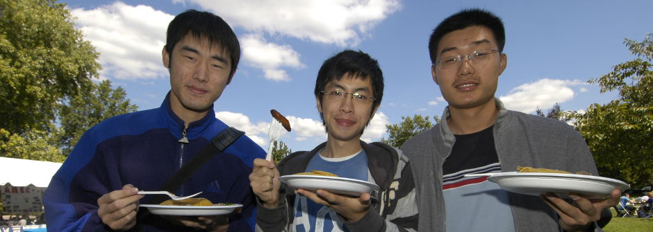 International students at a BBQ