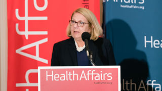 Judith Lucas presents her research at Health Affairs briefing. Courtesy of Health Affairs.