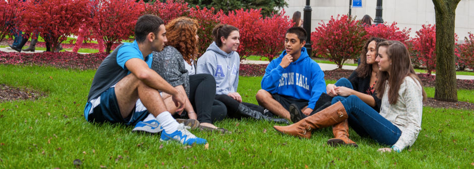 Students sitting on the grass in front of the library.