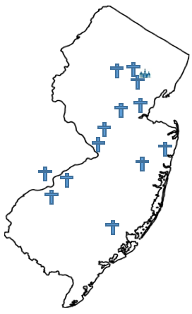 Outline of that state of New Jersey with crosses pinpointing the different areas around the state where network community members and churches are located.