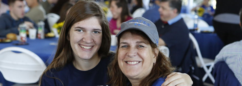 Mother and daughter at Seton Hall Weekend.