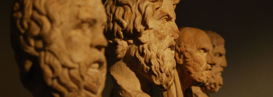 Busts of prominent Philosophers such as Socrates, Plato and Aristotle.