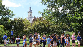 Students walking on campus during Pirate Adventure.