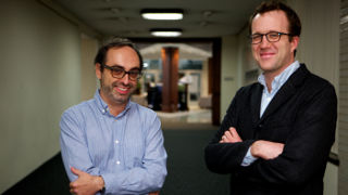 Nathan Oates and Gary Shteyngart in front of the Poetry-in-the-Round.