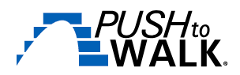 Logo for the non-profit, Push to Walk, with a blue arch of steps.