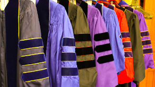 Regalia from the 2017 reception of faculty members who have received tenure and/or promotion.