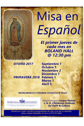 A poster for the Monthly Spanish Mass times.