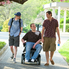 Student in wheelchair with friends