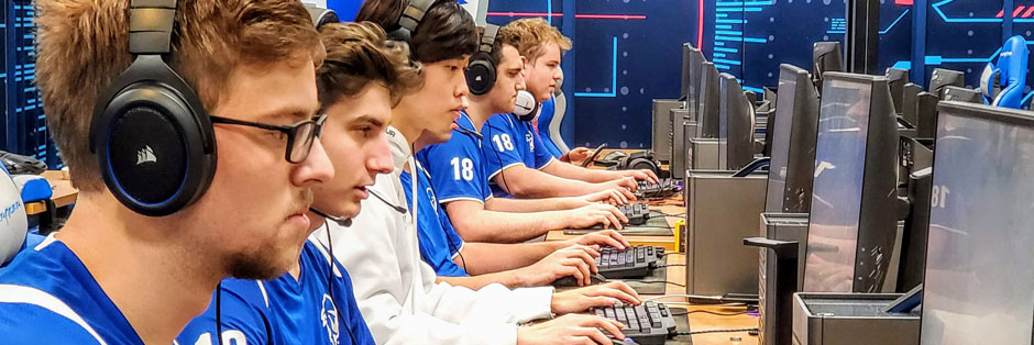 The Seton Hall esports team practicing League of Legends in the new esports gaming lab.