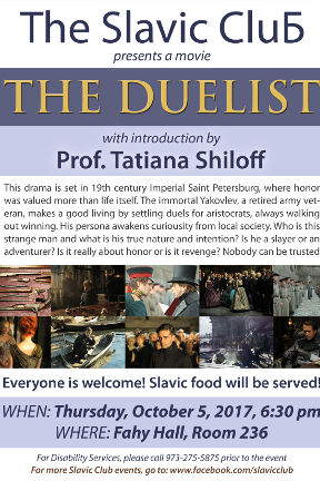 Flyer for Russian movie The Duelist screening sponsored by the Slavic Club.