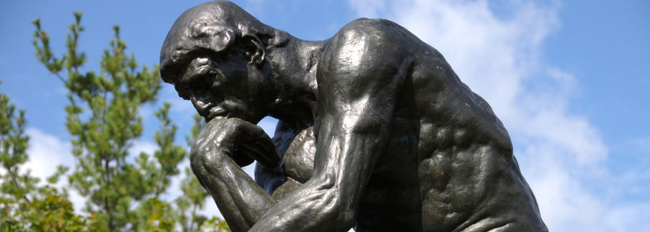 The Thinker (French: Le Penseur) a bronze sculpture by Auguste Rodin, of a male figure sitting on a rock with his chin resting on one hand as though deep in thought.