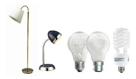 Lamps with Incandescent or Compact Fluorescent Light Bulbs