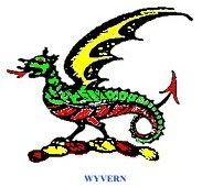 Drawing of a wyvern which is a monster with a horny head and forked tongue, a scaly back and rolls like armor on the chest and belly, bat-like ears and wings, two legs ending in talons and a pointed tail.
