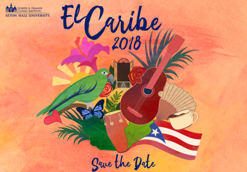 "Symbols of Cuba including a bird, the Cuban flag, a butterfly, a drum and a guitar under the words ""El Caribe 2018."""