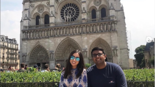 Photo of 2 business students studying in France