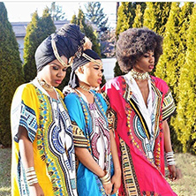 MarySonia Ugokwe (center) launched DashikiPride with her two sisters in 2014.