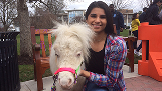 Seton Hall student with therapeutic pony