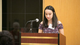 Photo of Sister Rose Thering essay contest winner