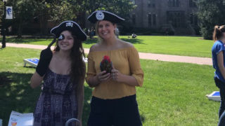 Two female students dressed as pirates