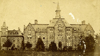 Old photo of Presidents Hall