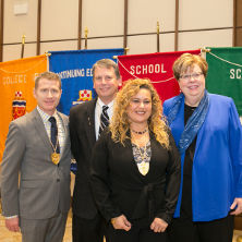 McQuaid Medalists with Interim President Mary Meehan (from left to right): Matthew M. Geibel, Nicholas H. Snow and Mayra I. Colon.