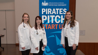 Nursing students participating in Pirates Pitch.