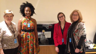 Nahnsejay Mauwon, '17 and Gabriell Pascarella, '17 at the United Nations 61st Commission on the Status of Women.