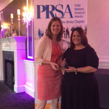 Pegeen Hopkins presented Pyramid Award for Best In Show by Loren Waldron, President of PRSA NJ.