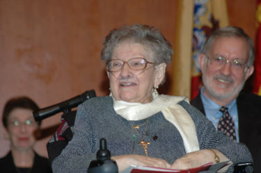 Sister Rose Thering, O.P, Ph.D., in a wheelchair.