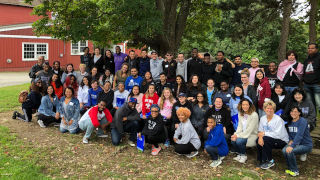 Students at peer to peer event