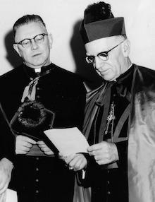 Monsignor George Shea, (1910-1990), rector (1961-1968), left; Most Reverend Thomas A. Boland (1896-1979), rector (1943-1947), Archbishop of Newark (1953-1974), right.