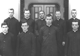 1965. Incoming seminarians. Second row, second from left, John Shea (born 1942), rector (1995-2000), auxiliary bishop of Newark (ordained 2004). - Flesey