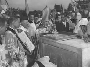 September 26, 1937. Most Reverend Thomas J. Walsh lays the cornerstone of the new seminary at Darlington