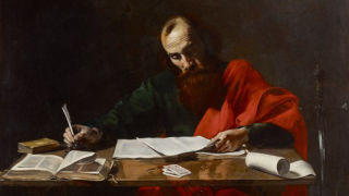 Painting of Saint Paul writing letters