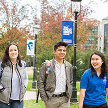 Undergraduate students walking on the Seton Hall campus
