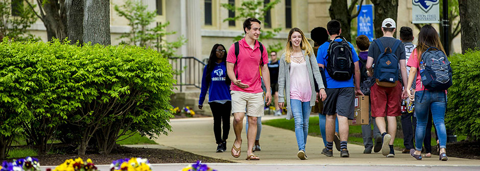 Students Walking Across the Seton Hall Campus